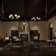 别墅型美式风格客厅装修效果图