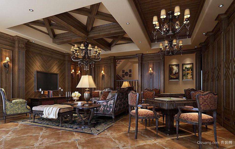 美式粗狂自由风格客厅装修效果图