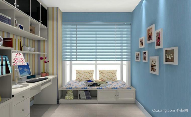 蓝白混搭色调书房榻榻米装修效果图