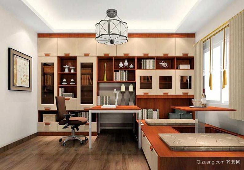 中式风格典雅与现代结合的书房榻榻米装修效果图