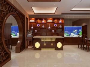 145平米中式自然酒店隔断装修效果图欣赏