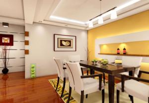 136平米自然的餐厅室内背景墙设计装修效果图