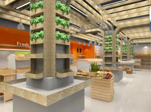 200平米自然的水果店室内背景墙装修效果图