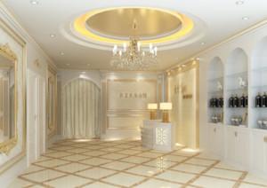 68平米自然的美容院室内背景墙装修效果图