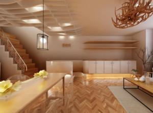 156平米自然美容院室内背景墙装修效果图