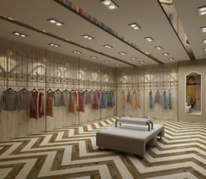 200平米精美的都市服装店背景墙装修效果图