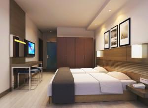 68平米都市唯美酒店卧室室内装修效果图