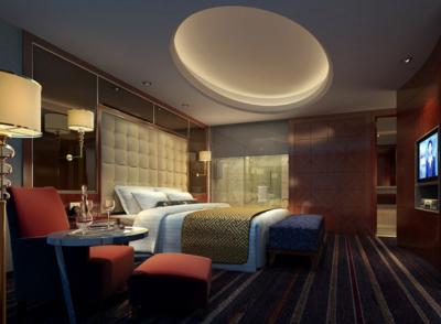 98平米都市唯美酒店臥室背景墻裝修效果圖實例