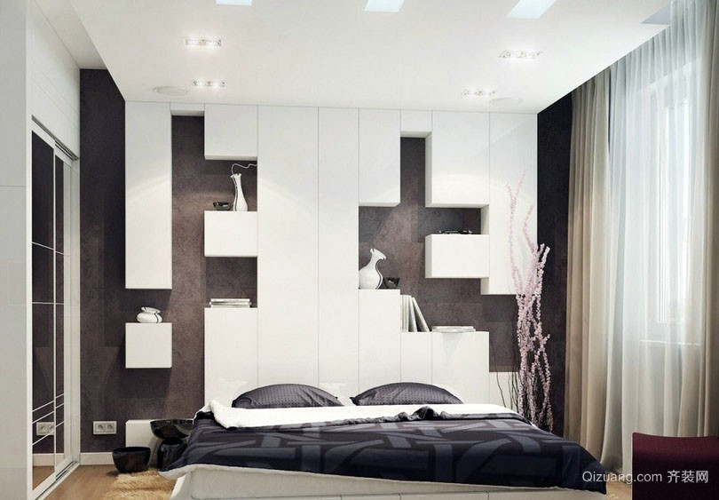 黑白配简约时尚卧室装修效果图大全