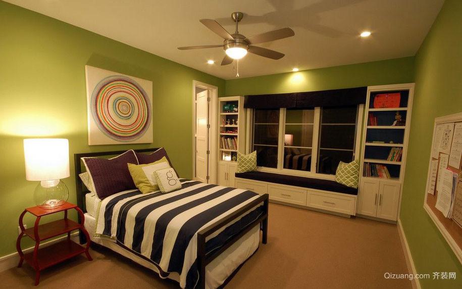动感绿色简约温馨卧室装修效果图