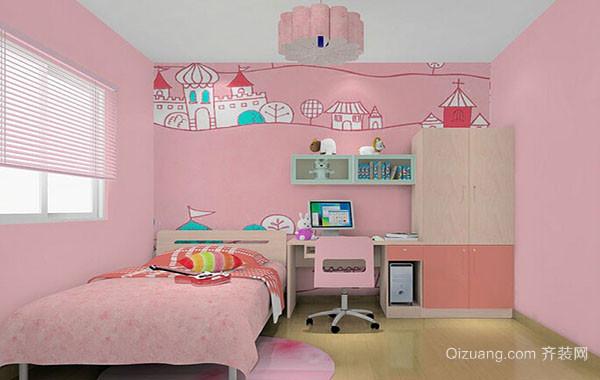 可爱女生粉色梦幻儿童房装修效果图