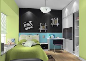 动感绿色一居室简约自然卧室效果图