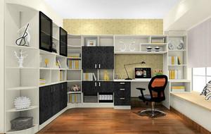 黑白灰主色调简约时尚书房装修效果图