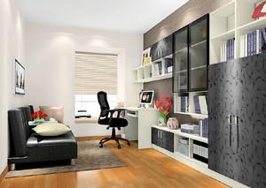 黑白配现代简约时尚书房装修效果图