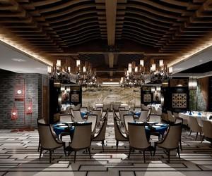 200平米都市餐厅吊顶设计装修效果图