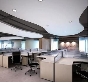 135平米都市办公室背景墙装修效果图
