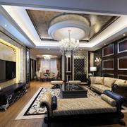 富有历史气息美式客厅效果图