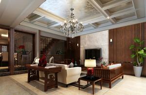 复式小楼中式精致端庄客厅整体效果图
