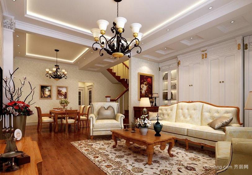 新古典美式风格客厅吊顶装修效果图