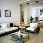 黑白混搭出时尚简约客厅装修效果图