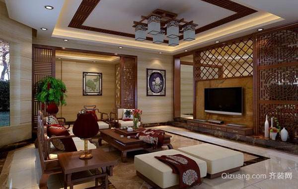 大户型东南亚风格客厅电视背景墙装修效果图