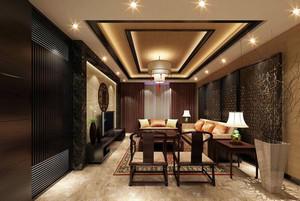 别墅精致东南亚风格客厅装修效果图