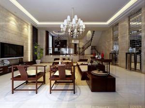 复式小楼现代中式风格客厅装修效果图