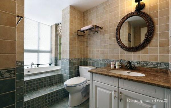 美式风格卫生间瓷砖地板砖装修效果图