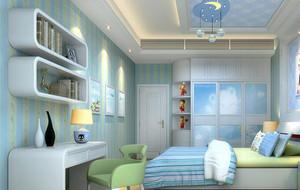 别墅型欧式儿童房室内背景墙设计装修效果图
