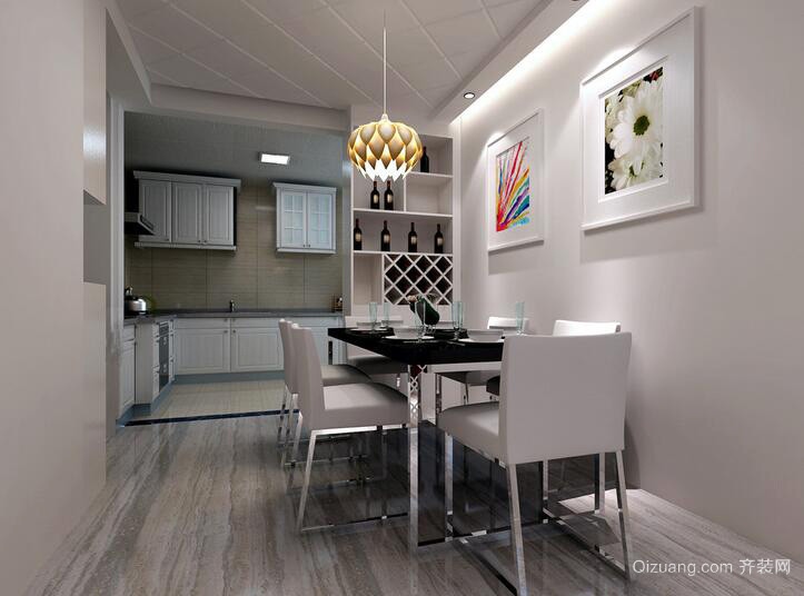 90平米简欧风格餐厅室内装修效果图