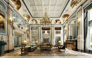 法式风格别墅经典客厅装修效果图实例