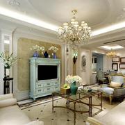 经典法式客厅壁炉效果图