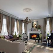 法式客厅壁炉效果图
