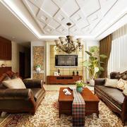 120平米古典法式风格客厅装修效果图