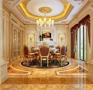 奢华典雅庄重欧式别墅餐厅装修效果图
