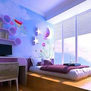 紫色可爱女生儿童房