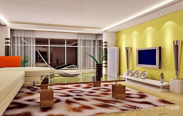 2016欧式精致三居室客厅电视背景墙装修效果图
