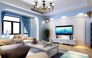 别墅型地中海风格大户型客厅背景墙装修效果图