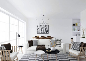 现代极简主义风格客厅装修效果图