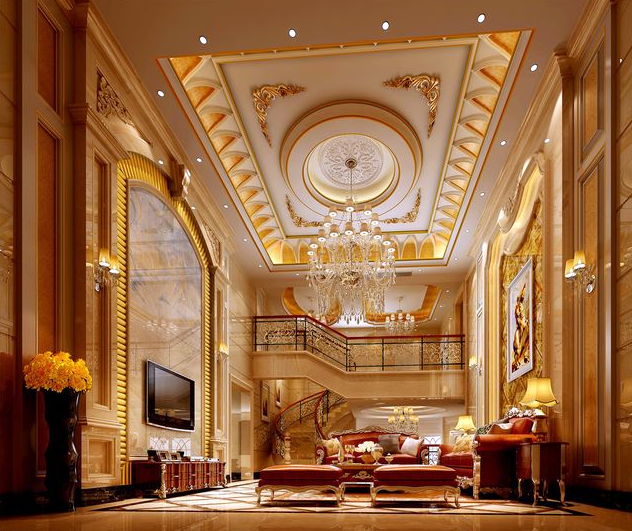 巴洛克风格超豪华别墅客厅装修效果图赏析
