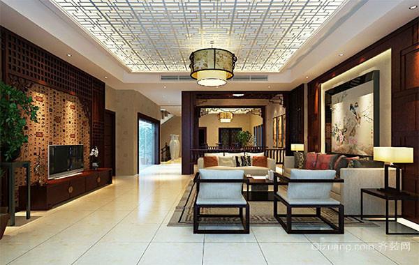 现代中式庄重优雅客厅装修效果图
