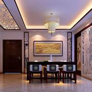 中式风格典雅底蕴餐厅背景墙装修效果图
