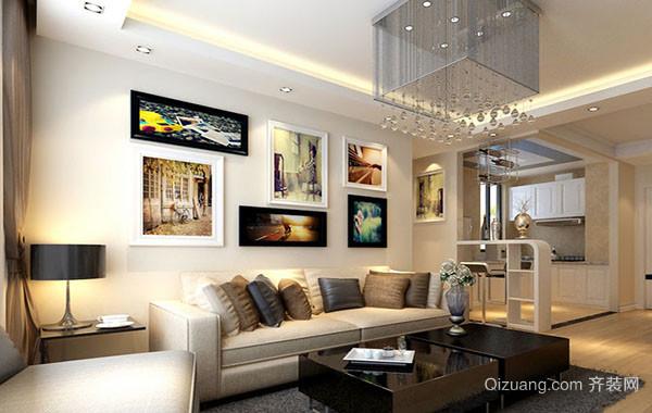 10平米创意时尚客厅照片墙装修效果图
