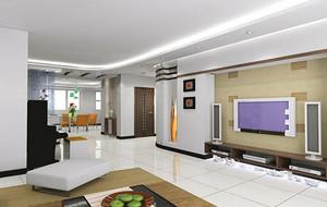100平米现代简约客厅电视背景墙装修效果图实例