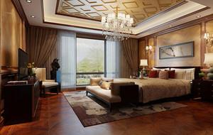 100平米大户型中式风格卧室背景墙装修效果图