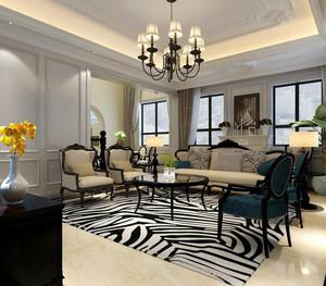 美式装修风格样板房客厅背景墙装修效果图