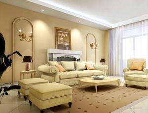 120平米欧式大户型客厅电视背景墙装修效果图