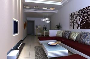 110平米三居室时尚简约客厅装修效果图