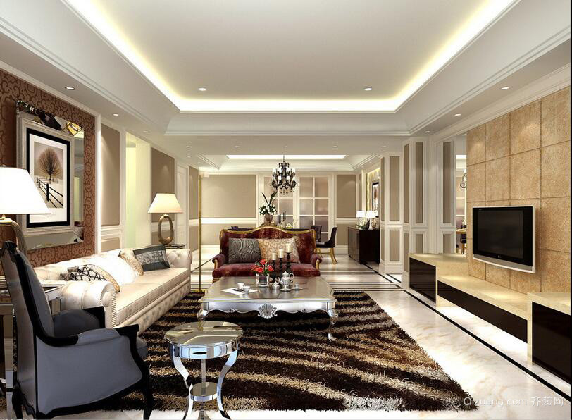 100平米欧式客厅室内吊顶装修效果图