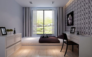 现代简约风格卧室窗帘装修效果图